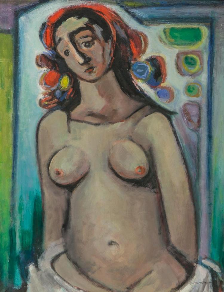 G Ralph Smith, American 20th c, painting of a nude, oil on masonite, signed G Ralph Smith, 22 3/4