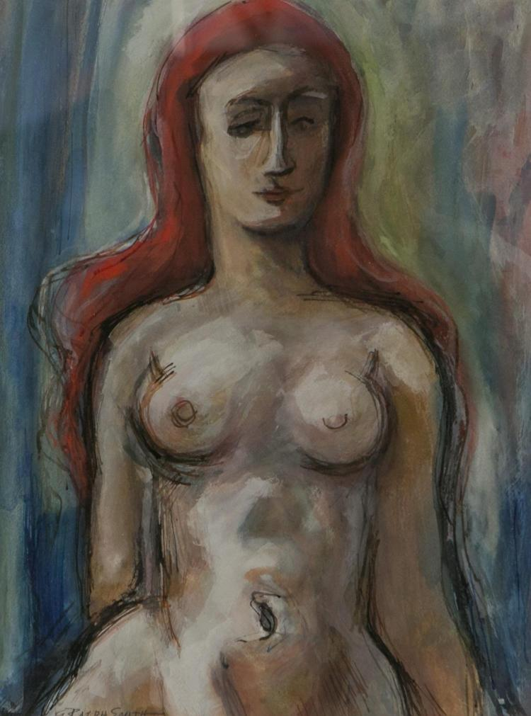 G Ralph Smith, American 20th c, watercolor of a female nude,