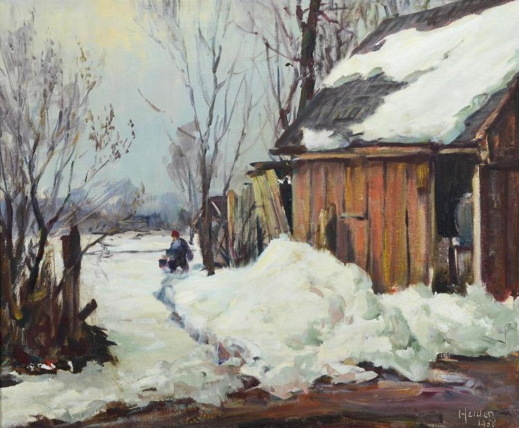 John Peter Heiden, American (1894-1986), Winter landscape painting, PA artist, landscape with figure and snow, oil on canvas, signed...