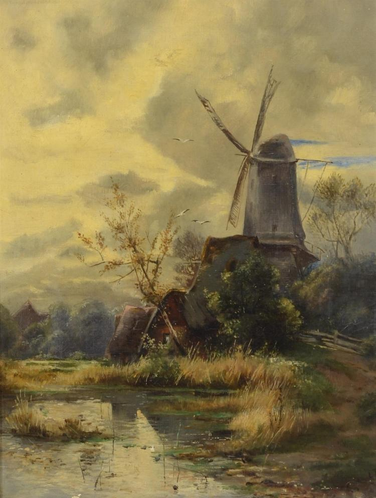 19th century Victorian Dutch landscape painting, signed