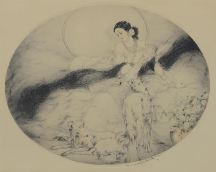 Original Louis Icart, handcolored etching, girl with Whippets, pencil signed