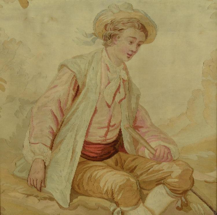 19th century French Aubusson tapestry of a young man, Aubusson mounted on plywood, measures 18