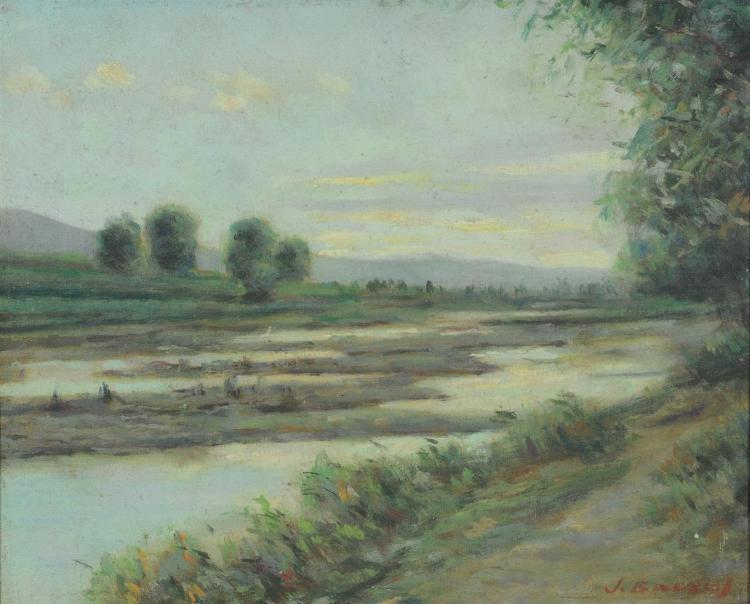 Juan Baixas-Carrate, Spanish (1863-1925), Impressionist landscape painting, oil on canvas mounted on masonite, signed