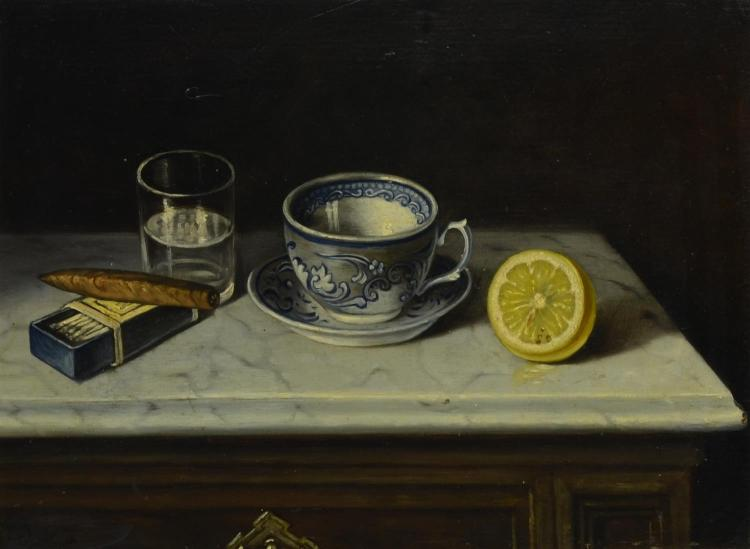 Early 20th century still life painting with teacup and lemon, indiscernable signature, oil on board, measures 12