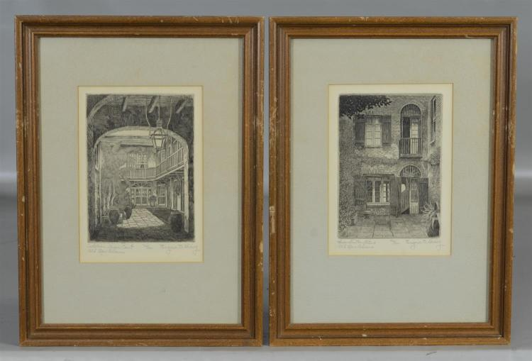 Eugene E Loving, three (3) etchings of Old New Orleans architectural courtyard scenes, pencil signed