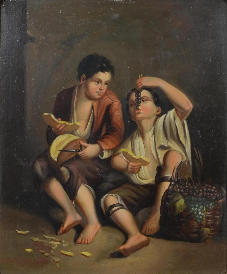 19th century painting on tin after Esteban Murillo, boys eating grapes and melon, oil in tin, unsigned, 8 1/2