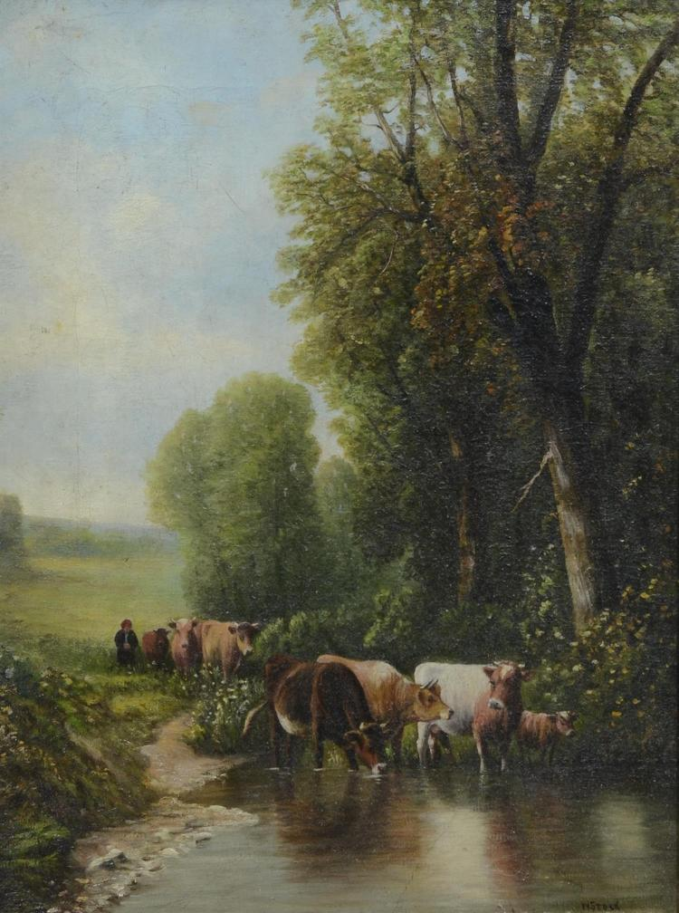 19th century W Stock pastoral landscape painting with cattle, oil on canvas, signed