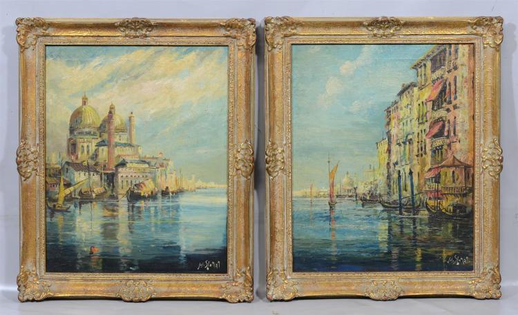 Pair of Joseph Sloman, American, b. 1883, oil paintings of Venetian scenes, oil on canvas, signed