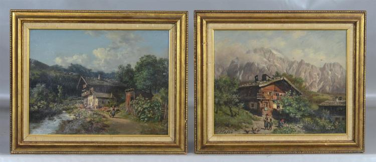 Pair of Max Hofer German landscape paintings, Alpine landscapes with cabins and figures, oil on canvas, signed