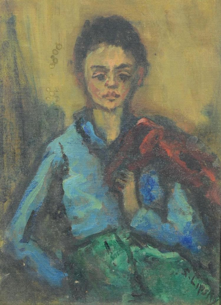 Sara Lipsky, modern portrait painting of young girl, oil on artist''s board, signed