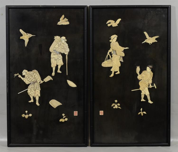 Pair of Japanese laquered panels inlaid with ivory and Mother of Pearl, small areas of loss, with restoration and replaced pieces, 3...