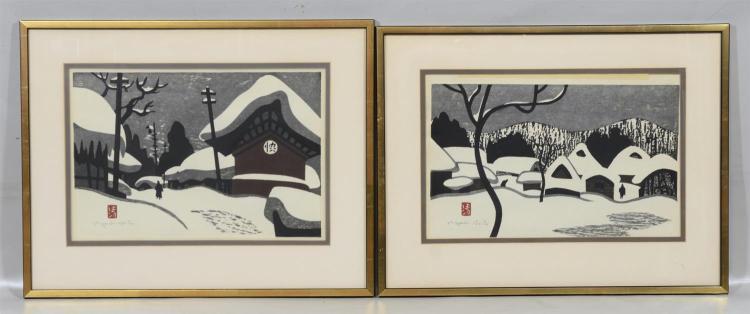 Pair of Kiyoshi Saito framed snow scenes, overall 17