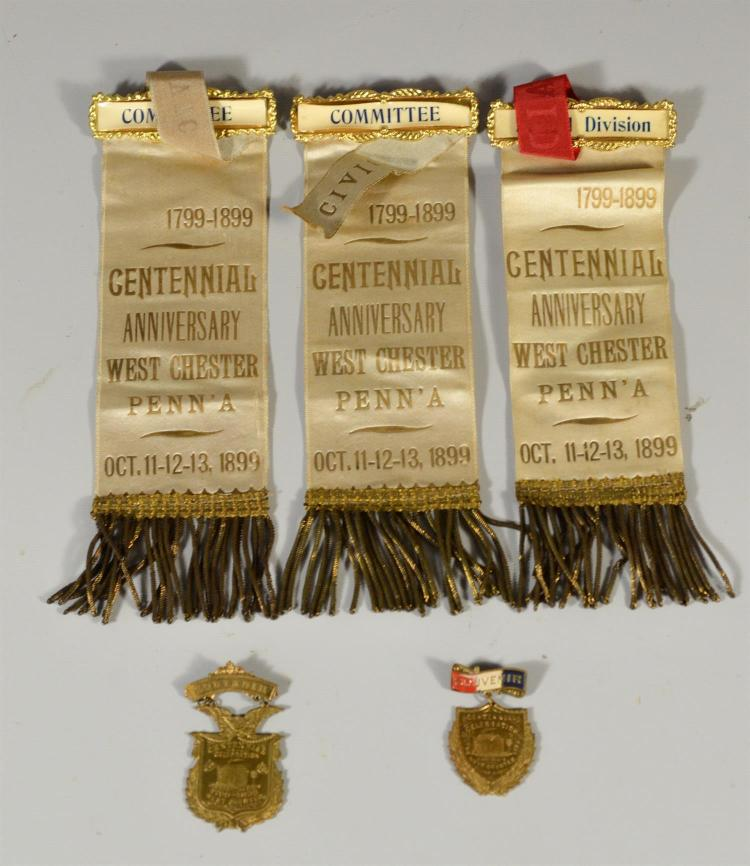 (5) West Chester PA 1899 Centennial silk ribbons/badges incl (2) Committee silks, second Division silk, (2) brass scenic Souvenir ba...