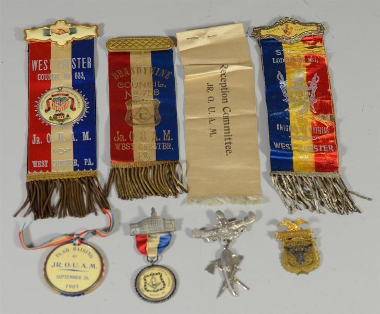 (8) Masonic / other fraternal lodge silks/ badges from West Chester, Philadelphia, Boston, Knights of Pythias, Redman Lodge, Masons
