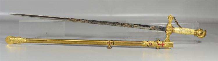 Knights Templar  Commandery No 34, Columbia, PA sword & Scabbard, retailed by Schuyler, Hartley, & Graham, before 1880, made by W Cl...