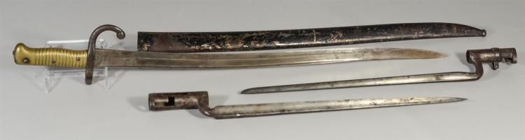 (3) 19th c bayonets, one marked US, one French dated 1869 with scabbard