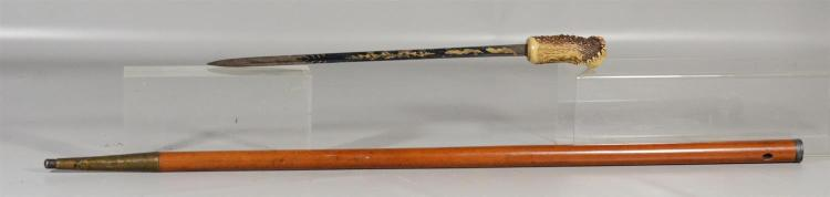 Stag horn and malacca sword cane , antler pommel, 14