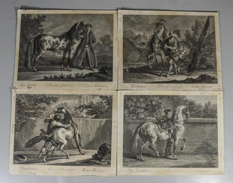 Johann Elias Ridinger, German (1698-1767), set of 11 equestrian loose prints, monochrome engravings on paper, approximate sizes 11 1...
