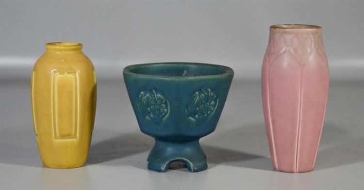 (3) Rookwood matte glaze production pieces, turquoise blue planter, form 1642, 1910, 4 3/4