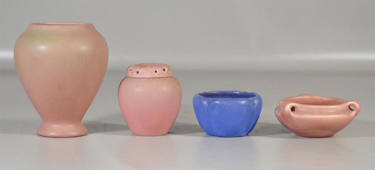 (4) Rookwood matte glaze production pieces, covered jar, 1321-E, 1929, 4