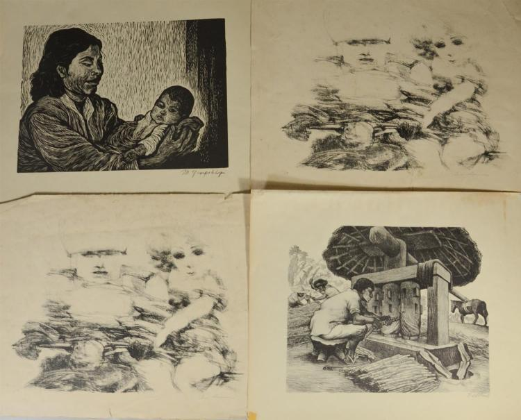 Group of 10 assorted lithographs, eight (8) penciled signed lithographs by artists including Philip Evergood, Sarai Sherman, Joseph ...