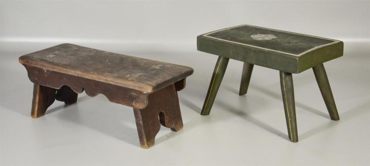 Two (2) primitive footstools, one painted green with floral decoration, the other undecorated, tallest is 7