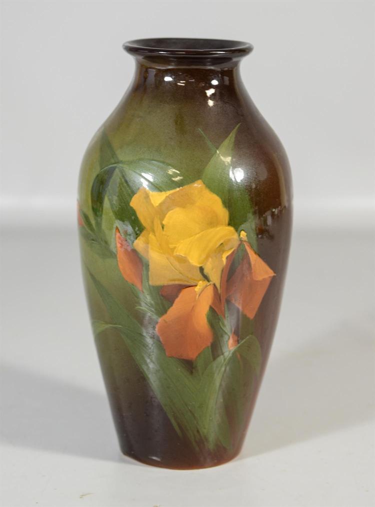 Weller Louwelsa iris vase, artist signed, 12 1/2