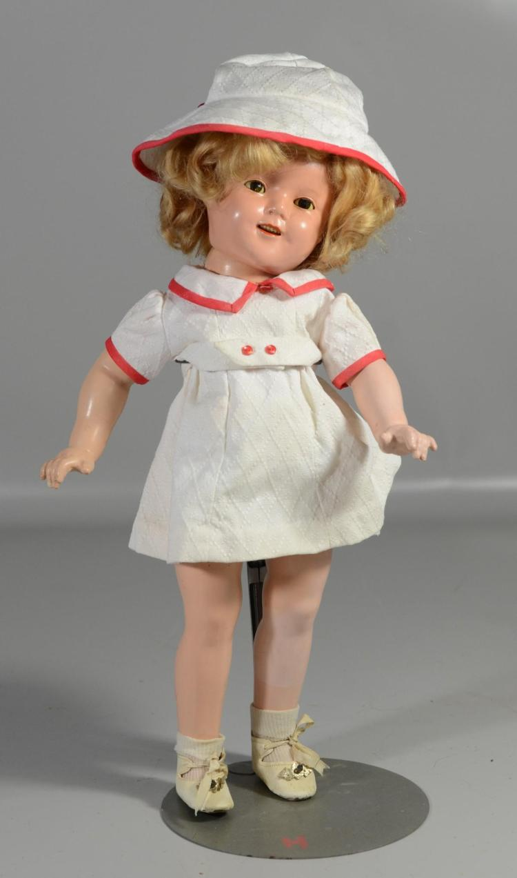 Shirley Temple composition doll, sleep eyes, open mouth, 6 teeth, marked on back of head