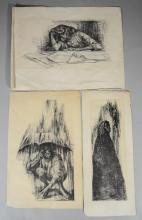 Charles Wilbert White, African-American Social Realist Artist, 1918-1979, (3) black and white lithographs,