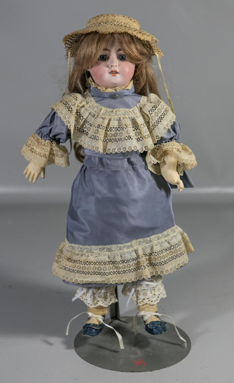 German 2X bisque head doll, set eyes, open mouth, 5 teeth, composition body, marked on back of head