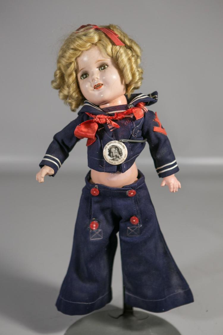 Ideal Shirley Temple composition doll, sleep eyes, open mouth, 6 teeth, marked on neck & back