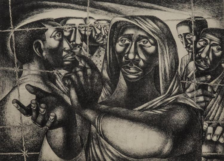 Charles Wilbert White, African-American Social Realist Artist, 1918-1979, black and white lithograph,