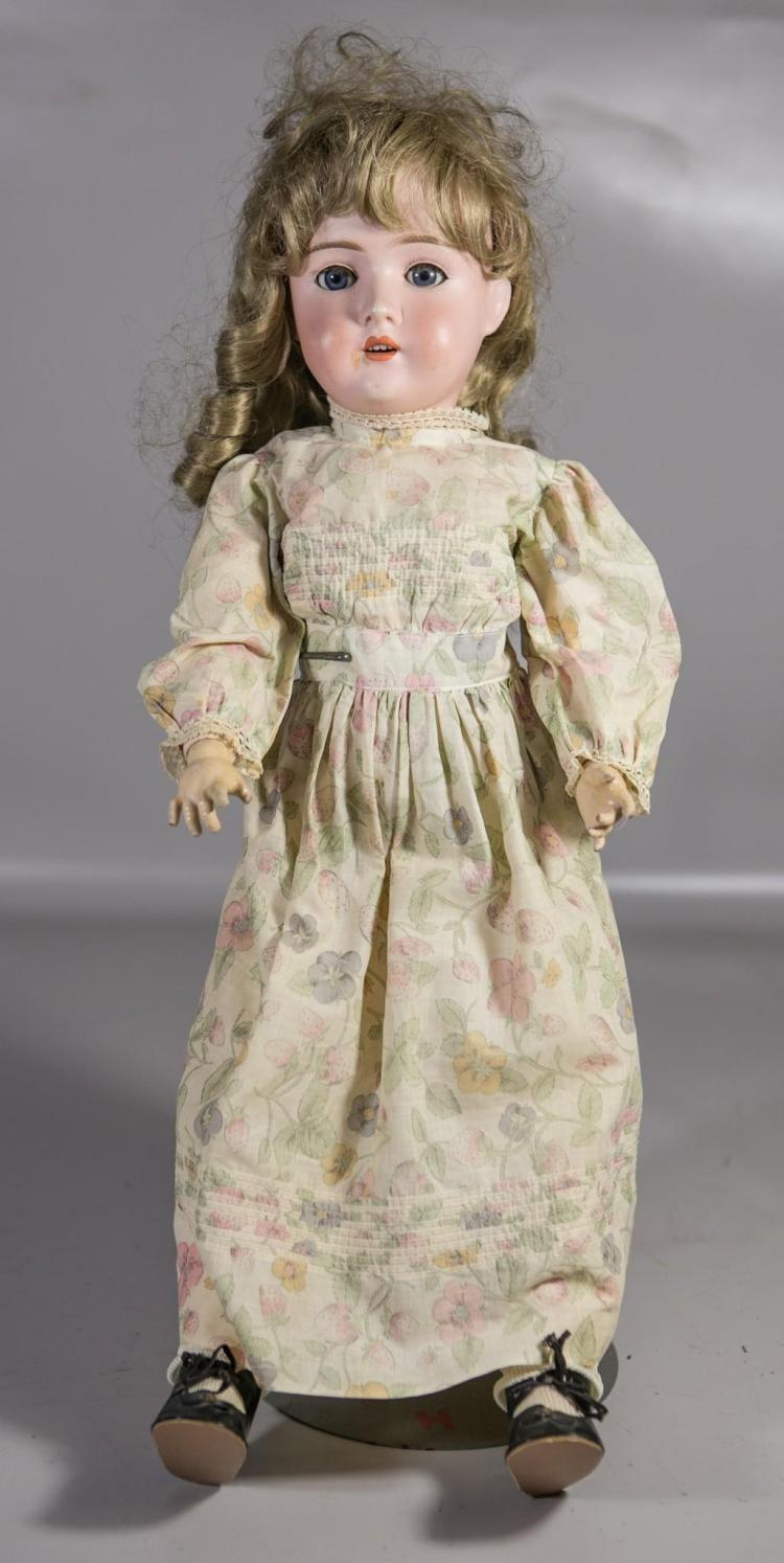 Gans & Seyfarth German bisque head doll, open mouth, 4 teeth, set eyes, composition ball jointed body, marked on back of neck