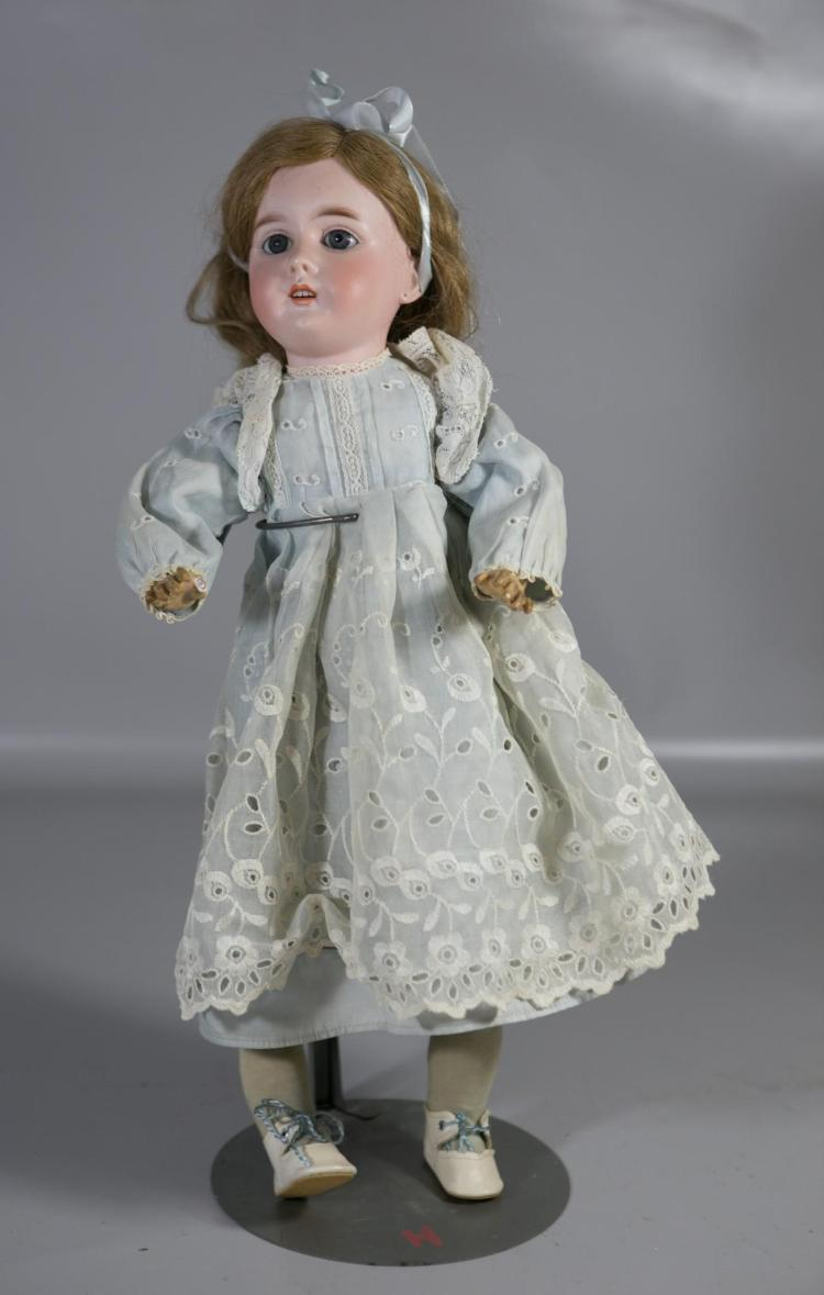 Gebruder Kuhnlenz German Dep bisque head doll, set eyes, open mouth, 4 teeth, ball jointed composition body (missing right thumb), m...