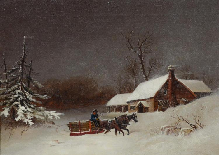 William van de Veld Bonfield, American, 1834-1885, o/c, Drifting Snow, signed and dated