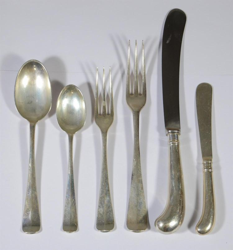 310 pcs English sterling silver flatware, made by Charles William Fletcher, Sterling Works, marks for London, 1957, retailed by Jame...