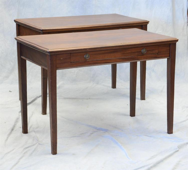 Pr Georgian style mahogany one drawer library tables, early 19th c, 30