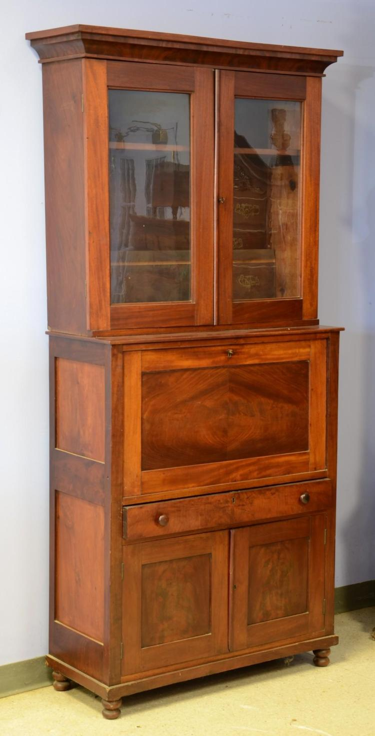 Mahogany Federal vertical fall front bookcase top desk, base with a drawer over 2 doors, c 1830-50, 83