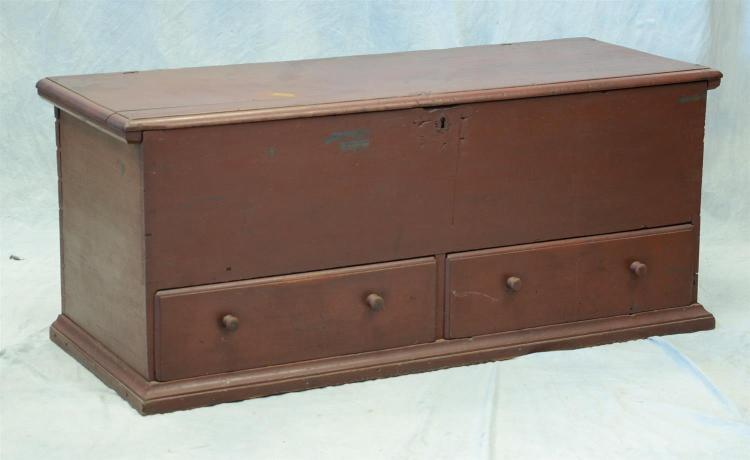 Red painted blanket chest with 2 drawers and a till, lacking feet, 22