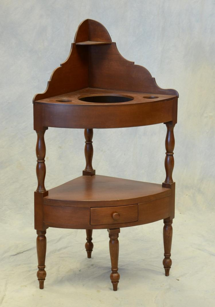 Mahogany Sheraton corner washstand, high scalloped dovetailed back ,cut out top, drawer in base, American, c 1810-20, 43