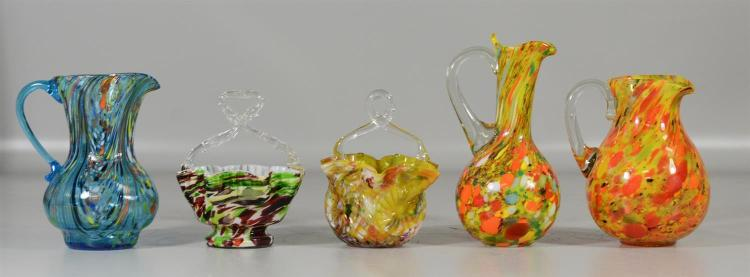 (5) end of day glass items, 3 pitchers, tallest 7 3/4
