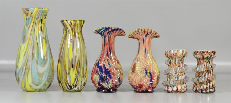 (2) pr & 2 similar end of day glass vases, tallest 10