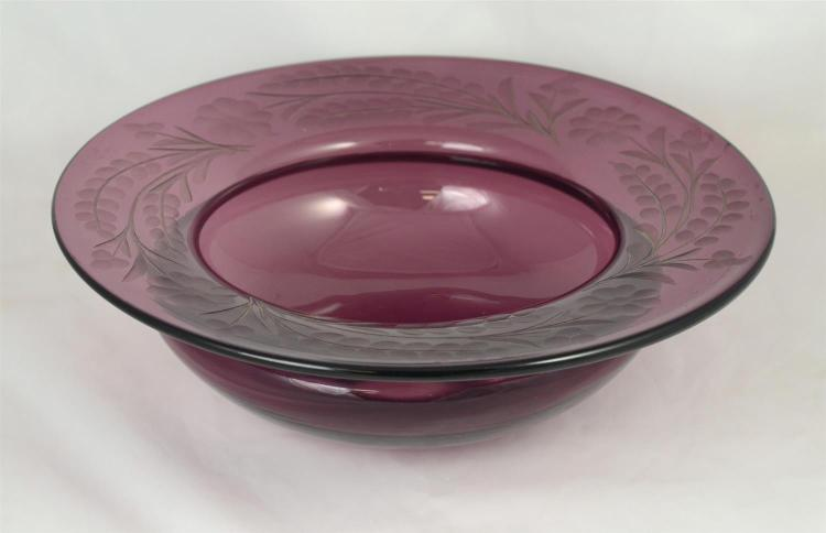 Cut amethyst glass bowl, probably Pairpoint, 14 1/4