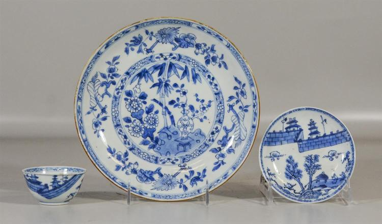 Three (3) pieces of early Chinese blue and white to include a shallow bowl with old collector tag on base, together with an early cu...