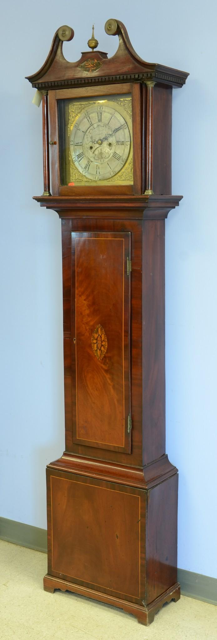 Inlaid mahogany English tall clock by Thomas Hartley, Snaith, Yorkshire, chapter ring needs to be refastened to dial,  inlaid crest...
