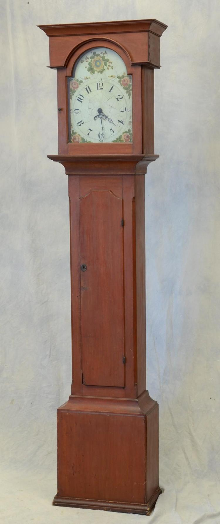 Joseph Eberman, Lancaster Co, Red painted softwood 30 hour tall clock, painted dial, flat top bonnet, c 1820, 87 1/2
