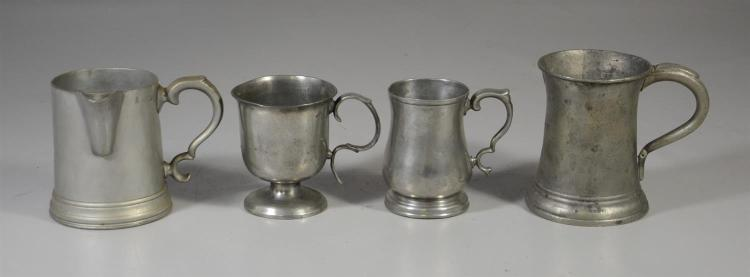 (4) 1/2 pt - pt pewter measures, 19th c, tallest 5