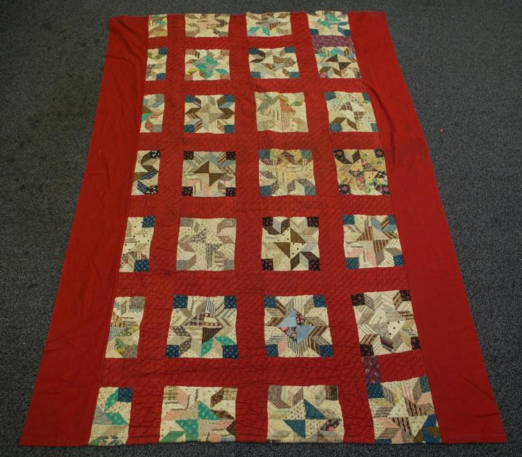 Pr patchwork block on red ground twin quilts, each 61