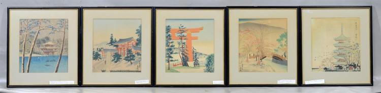 Set of five (5) Tokuriki Tomikichiro Japanese woodblock prints, color woodblock on paper, frame size 15 3/4