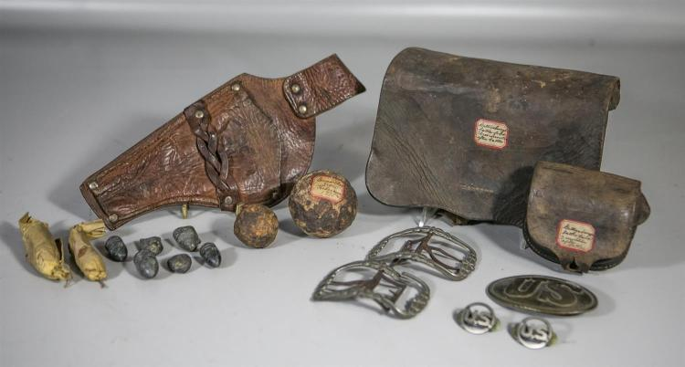 (2) US Civil War leather ammo pouches, unmarked, with old paper labels with inscriptions